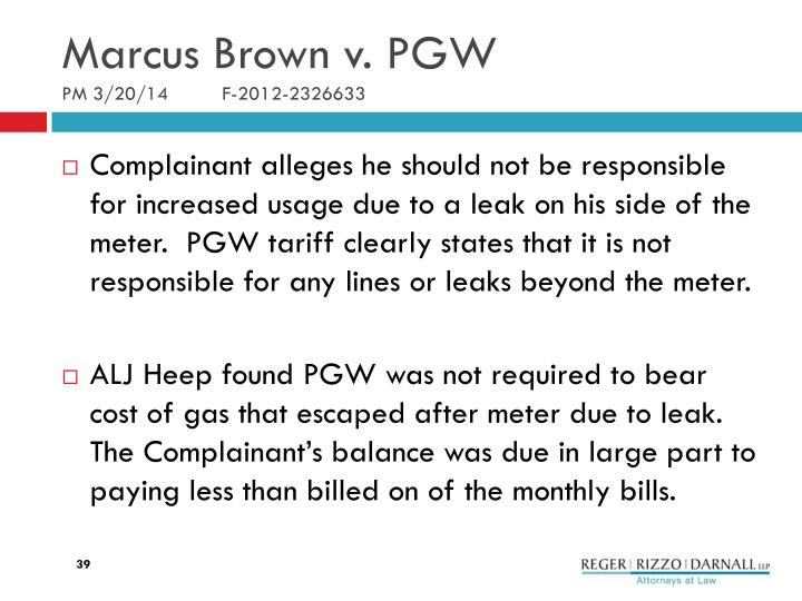 Marcus Brown v. PGW