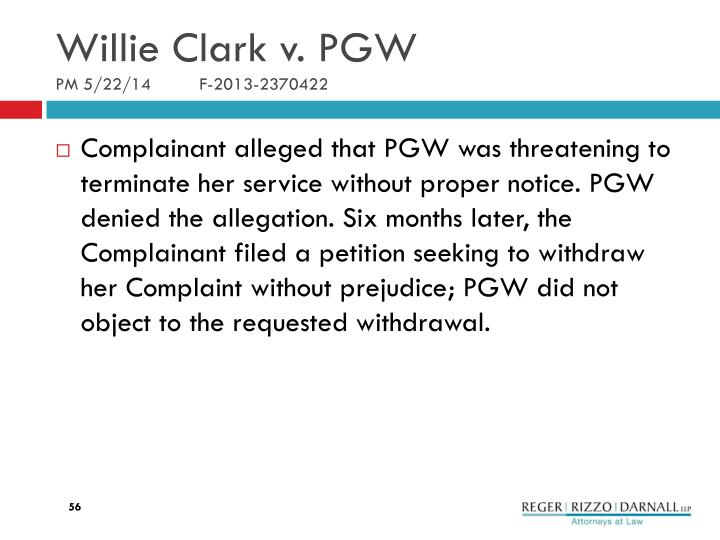 Willie Clark v. PGW