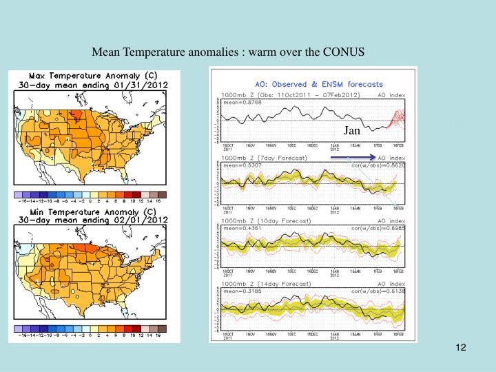 Mean Temperature anomalies : warm over the CONUS