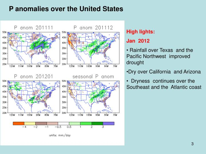 P anomalies over the United States