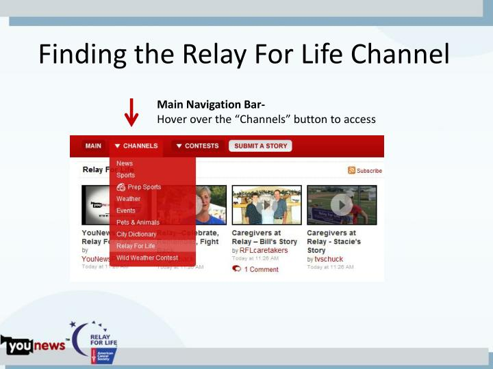 Finding the Relay For Life Channel