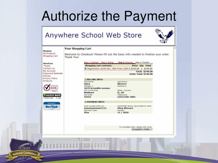 Authorize the Payment
