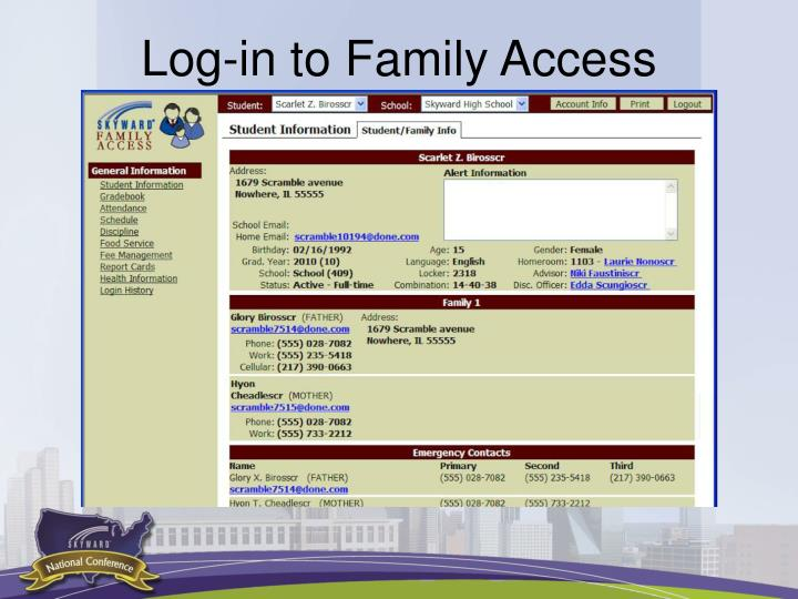Log-in to Family Access