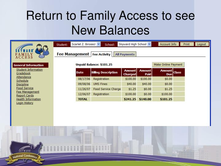 Return to Family Access to see New Balances