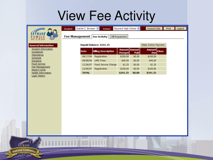 View Fee Activity