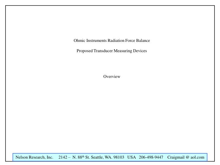 Ohmic Instruments Radiation Force Balance