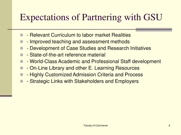 Expectations of Partnering with GSU
