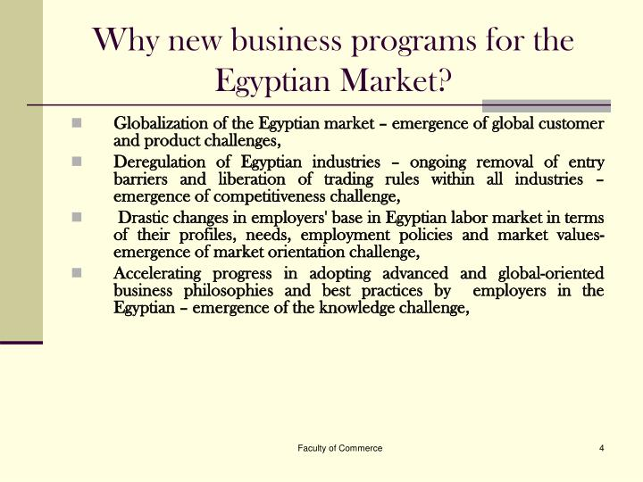 Why new business programs for the Egyptian Market?