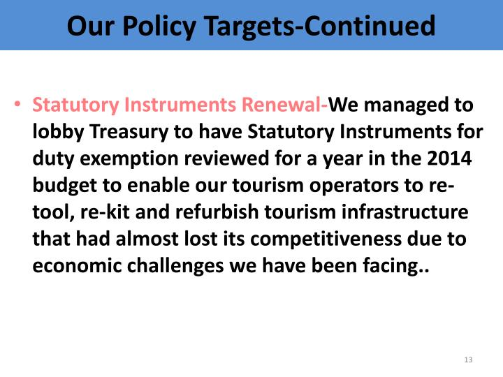 Our Policy Targets-Continued
