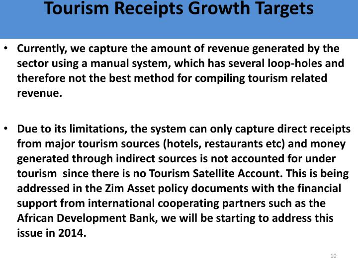 Tourism Receipts Growth Targets