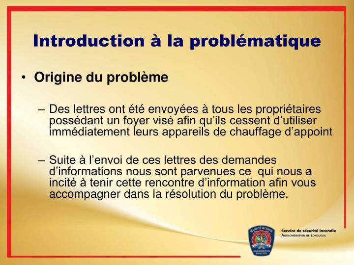 Introduction à la problématique