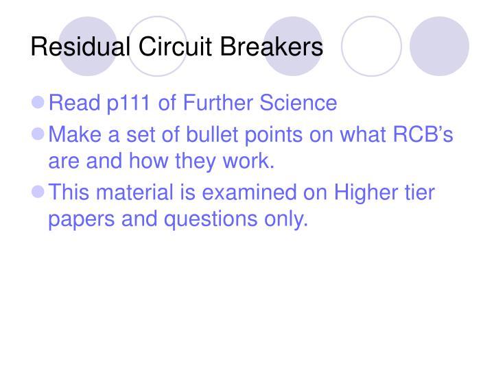 Residual Circuit Breakers