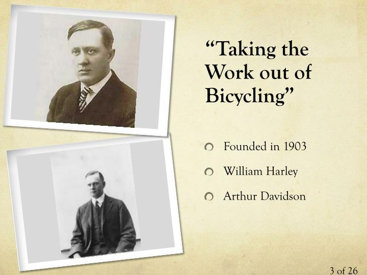 """""""Taking the Work out of Bicycling"""""""