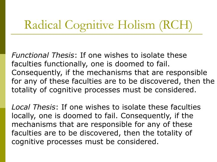 Radical cognitive holism rch