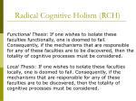 radical cognitive holism rch