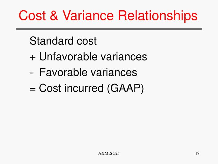 Cost & Variance Relationships