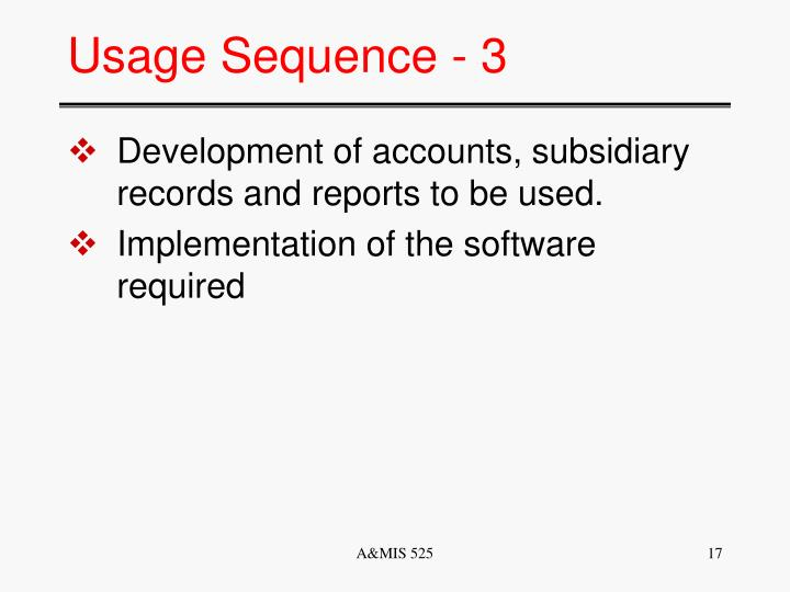 Usage Sequence - 3