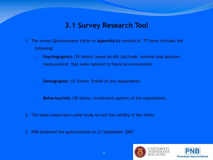 1.  The survey Questionnaire (refer to