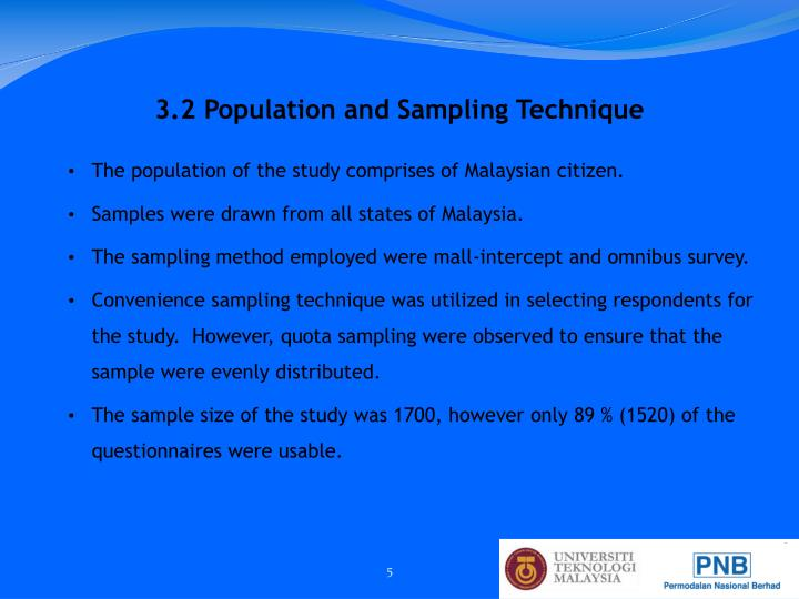 3.2 Population and Sampling Technique