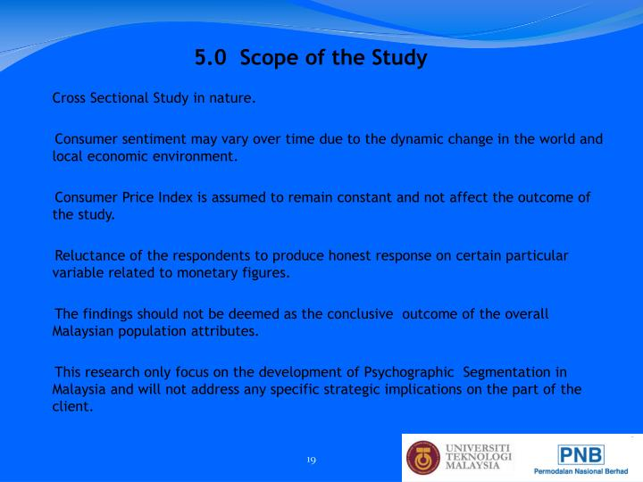5.0  Scope of the Study