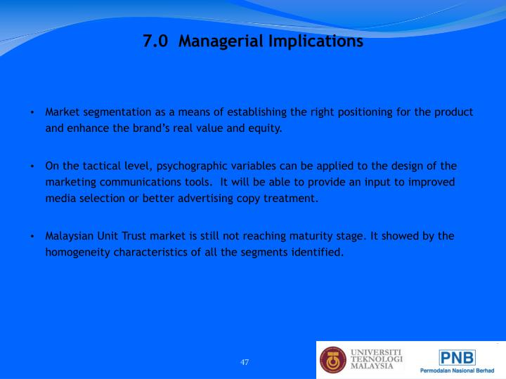 7.0  Managerial Implications