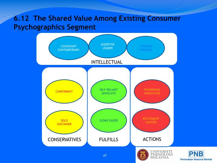 6.12  The Shared Value Among Existing Consumer Psychographics Segment