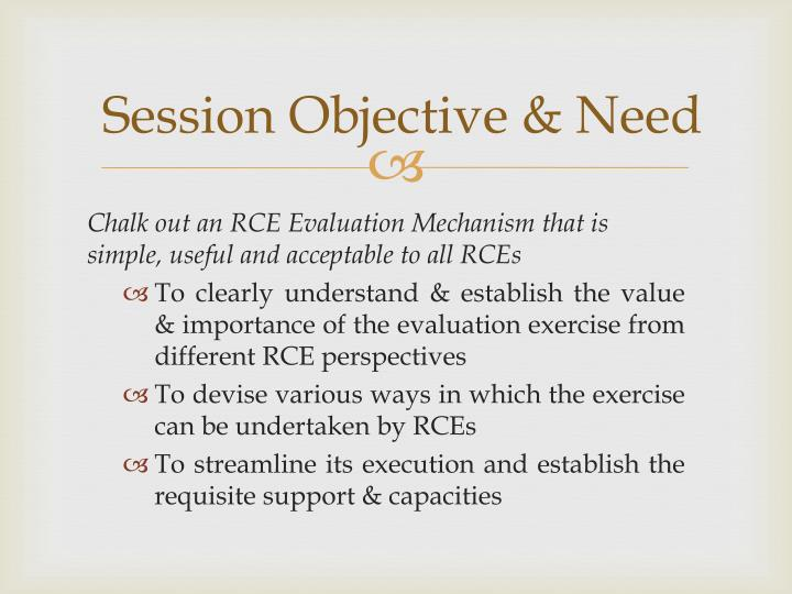 Session Objective & Need