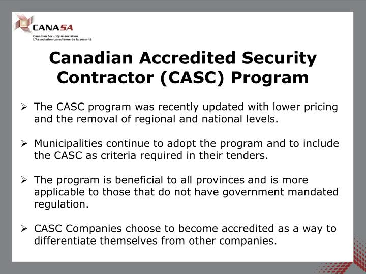 Canadian Accredited Security Contractor (CASC) Program