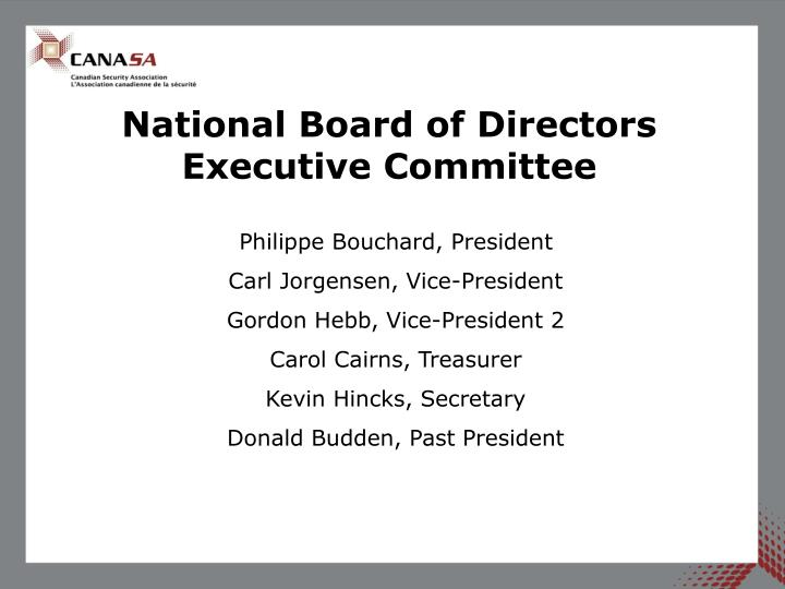 National board of directors executive committee