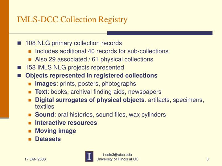 Imls dcc collection registry