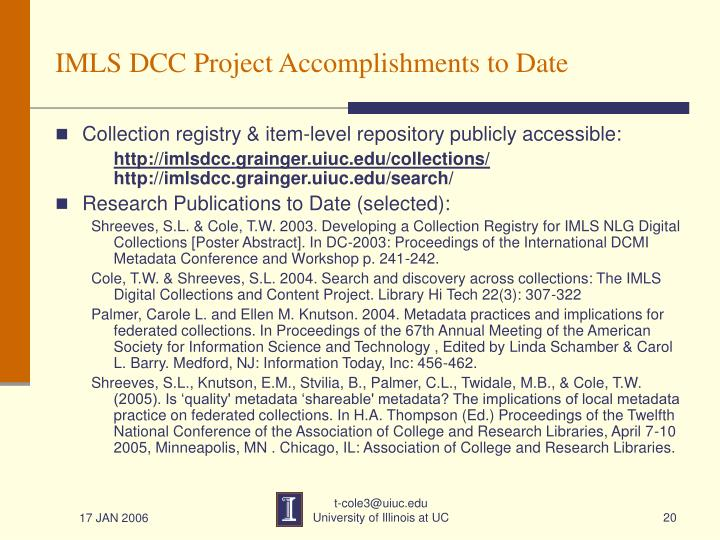 IMLS DCC Project Accomplishments to Date