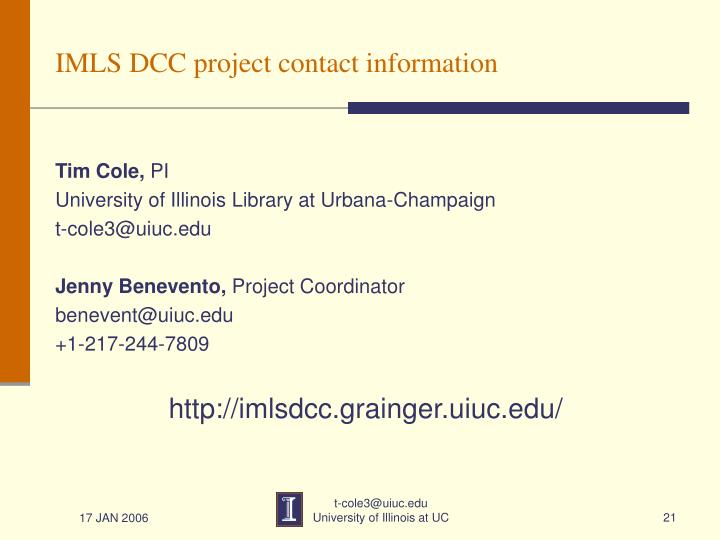 IMLS DCC project contact information