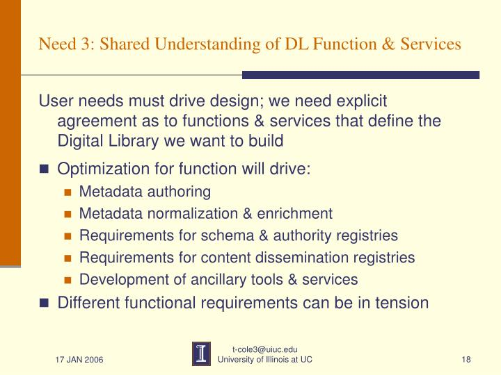 Need 3: Shared Understanding of DL Function & Services