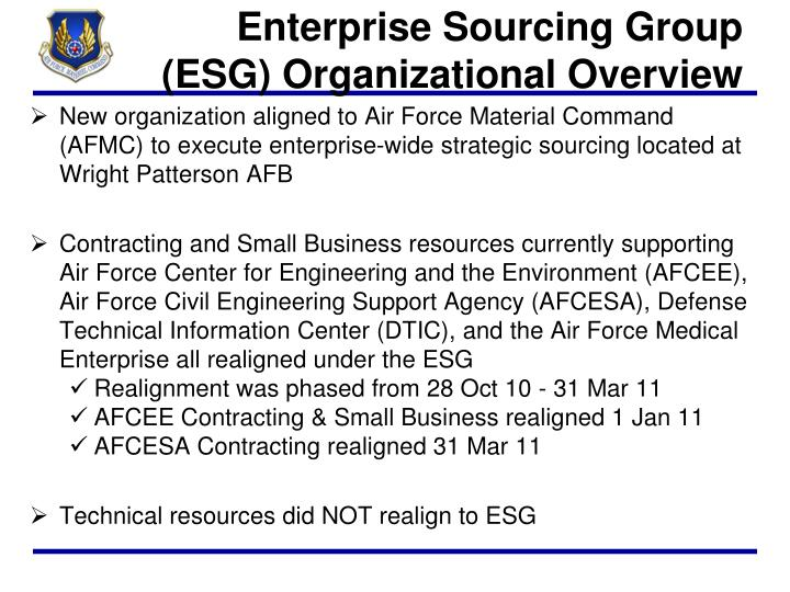 Enterprise sourcing group esg organizational overview
