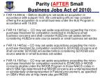 parity after small business jobs act of 2010