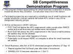 sb competitiveness demonstration program