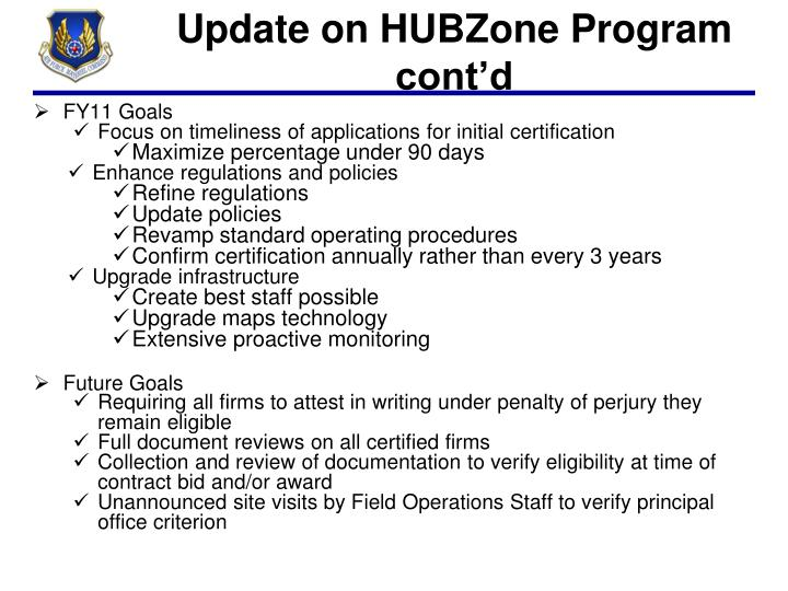 Update on HUBZone Program cont'd