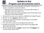 updates to 8 a program not all inclusive cont d
