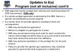 updates to 8 a program not all inclusive cont d1