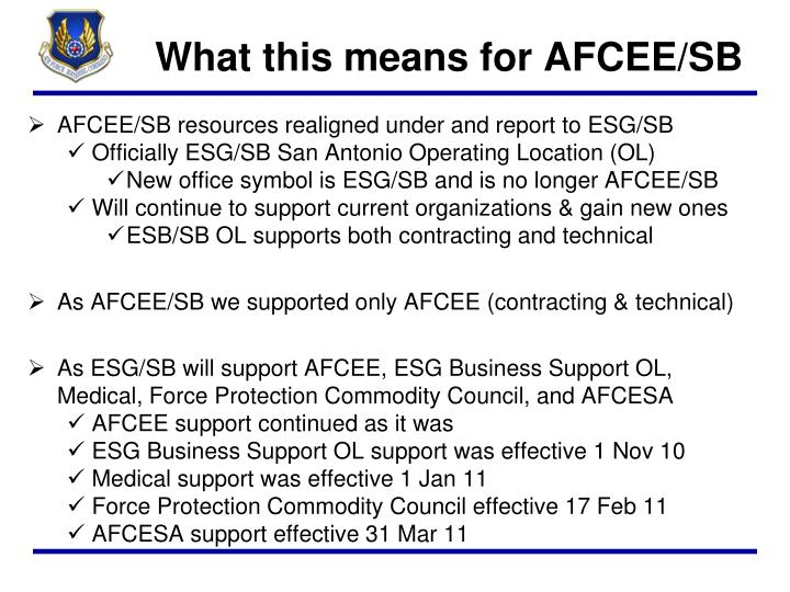 What this means for AFCEE/SB