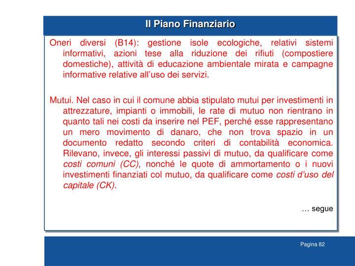 Il Piano Finanziario