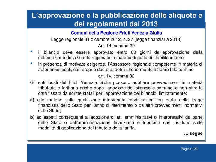 L'approvazione e la pubblicazione delle aliquote e dei regolamenti dal 2013