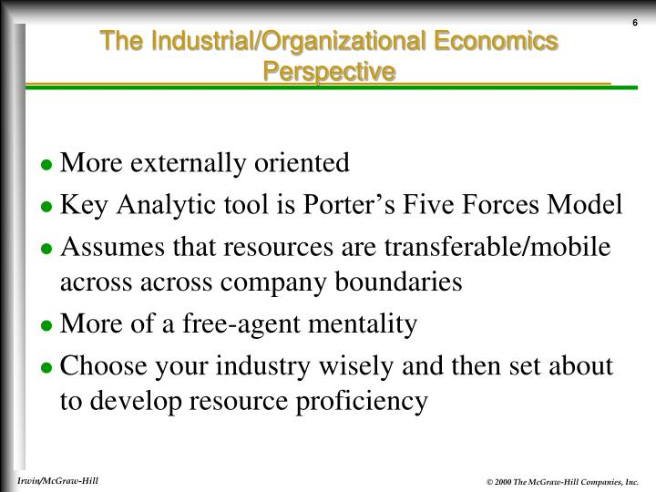 The Industrial/Organizational Economics Perspective