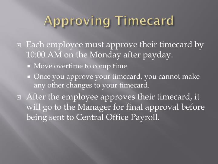 Approving Timecard