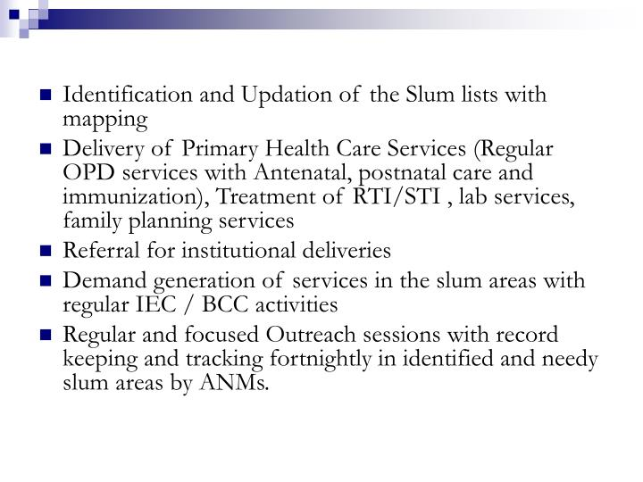 Identification and Updation of the Slum lists with mapping