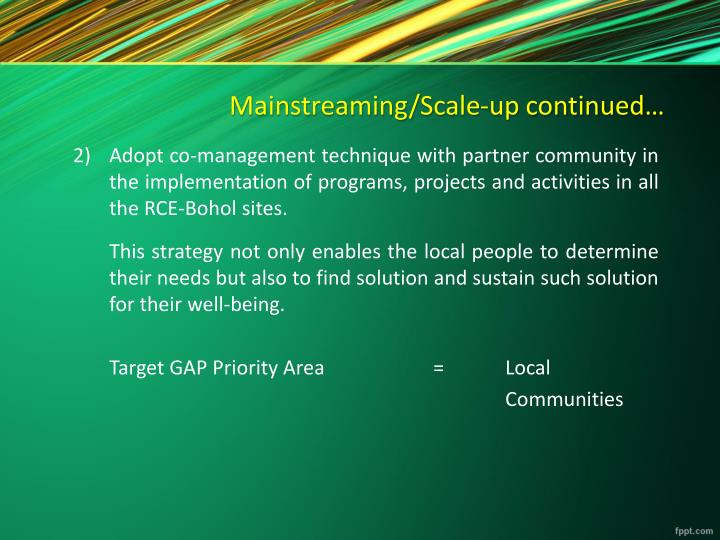 Mainstreaming/Scale-up continued…