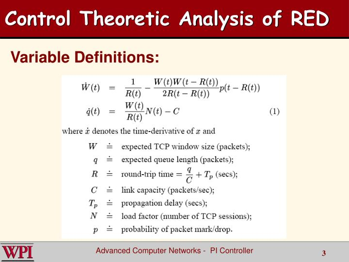 Control Theoretic Analysis of RED