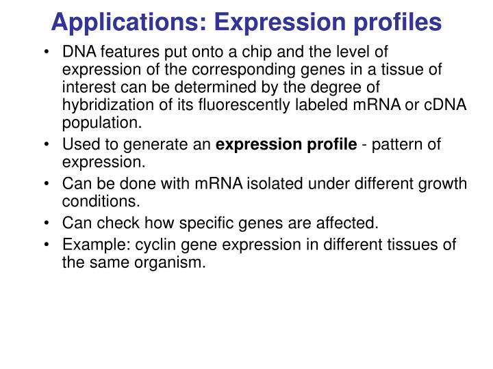 Applications: Expression profiles