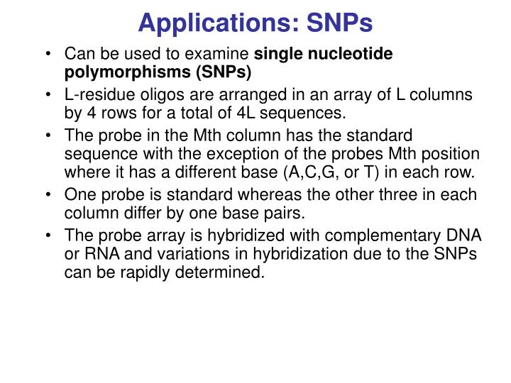 Applications: SNPs