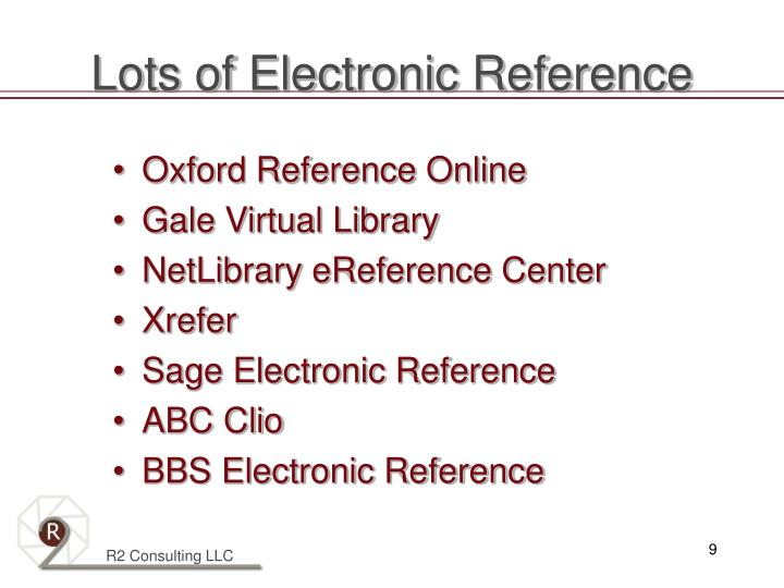 Lots of Electronic Reference